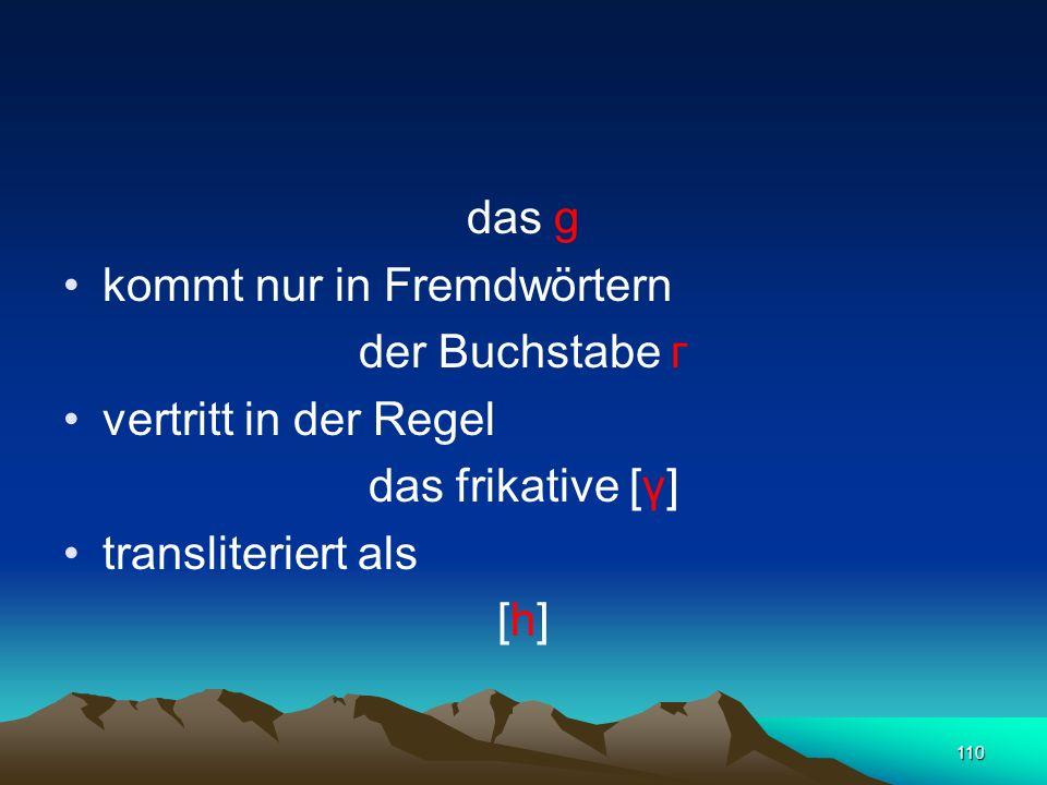 das g kommt nur in Fremdwörtern. der Buchstabe г. vertritt in der Regel. das frikative [γ] transliteriert als.